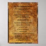 Dix commandements sur l'arrière - plan en pierre affiche