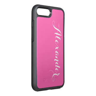 DIY Farbhintergrund, Namensmonogramm-Pink OtterBox Symmetry iPhone 8 Plus/7 Plus Hülle