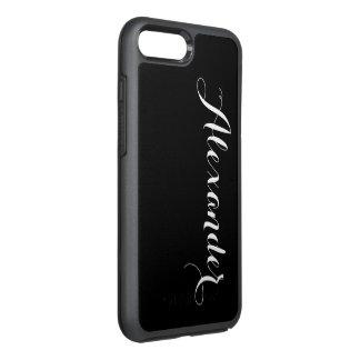 DIY Farbhintergrund, Namensmonogramm-Schwarzes OtterBox Symmetry iPhone 8 Plus/7 Plus Hülle