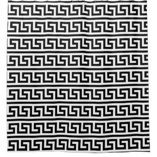 DIY Hintergrund-Schwarz-weißes griechisches Duschvorhang