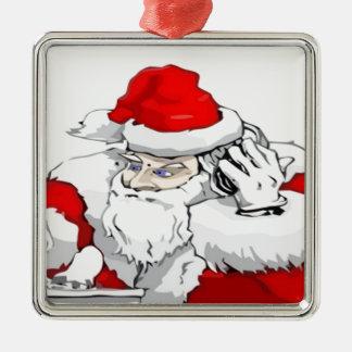 DJ Weihnachtsmann, der die WeihnachtsParty-Bahn Silbernes Ornament