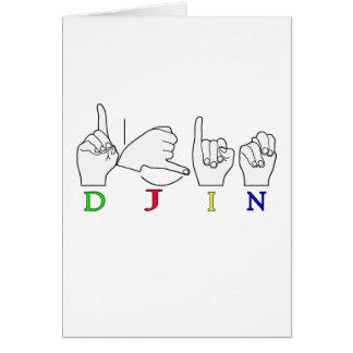 DJIN ASL FINGERSPELLED NAMENSzeichen Karte