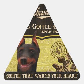 Dobermann-Marke - Organic Coffee Company Dreiecks-Aufkleber