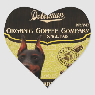 Dobermann-Marke - Organic Coffee Company Herz Sticker