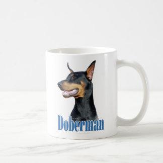 Dobermannpinscher- schwarzer Name Kaffee Haferl