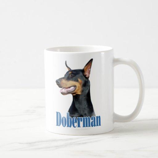 Dobermannpinscher-(schwarzer) Name Kaffee Haferl