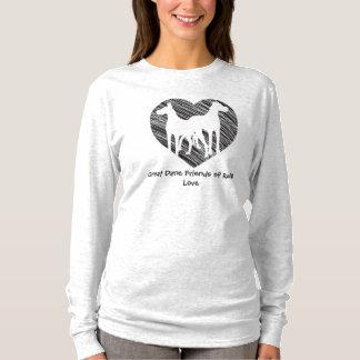 Dogge-Freund-Gekritzel-Herzlogo T-Shirt