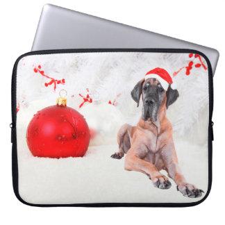 Dogge-Hundehut-frohe Weihnacht-Rot-Verzierung Laptopschutzhülle