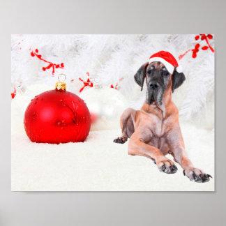 Dogge-Hundehut-frohe Weihnacht-Rot-Verzierung Poster