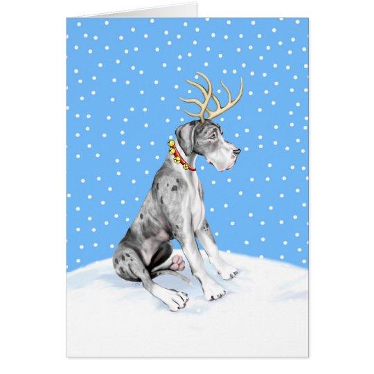 Dogge-Ren-Weihnachten Merle UC Grußkarte