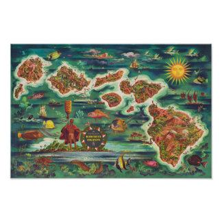 Dole-Karte 1950 der Ölfarbe Hawaiis Joseph Feher Poster