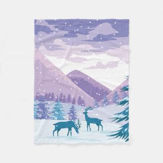 Dollar-Rotwild-Winter-Szene Fleecedecke