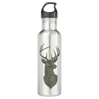 Dollar-Trophäe-Rotwild-Silhouette im Tarnungs-Grün Trinkflasche