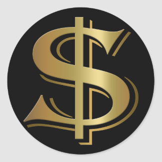 Dollar-Zeichen-Aufkleber Runder Aufkleber