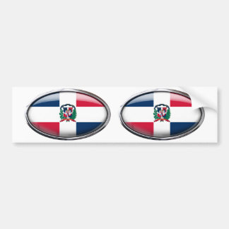 Dominikanische Republik-Flaggen-Glasoval Autoaufkleber