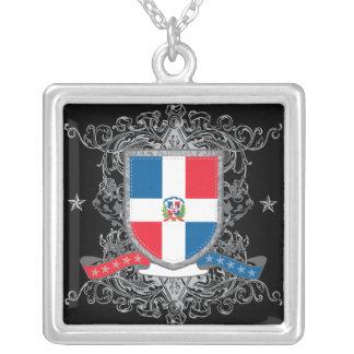 Dominikanische Republik-Schild Versilberte Kette