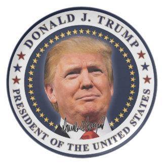 Donald- Trumpeinweihungs-Gold spielt Andenken die Melaminteller