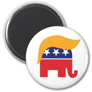 Donald- Trumphaar GOP-Elefant-Logo Runder Magnet 5,7 Cm