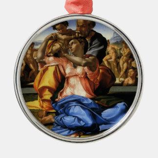 Doni Tondo oder Doni Madonna durch Michelangelo Rundes Silberfarbenes Ornament