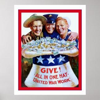 Donnez ! Tous dans une guerre mondiale vintage de  Posters
