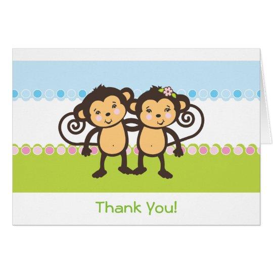 Doppelaffen danken Ihnen zu kardieren Karte