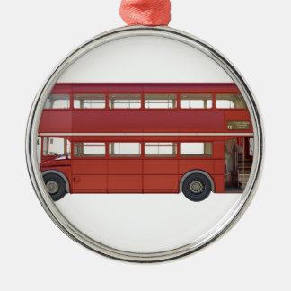 Doppeldecker-Rot-Bus Silbernes Ornament
