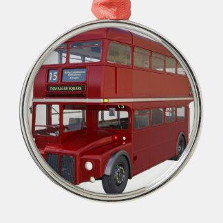 Doppeldecker-roter Bus im vorderen Profil Silbernes Ornament