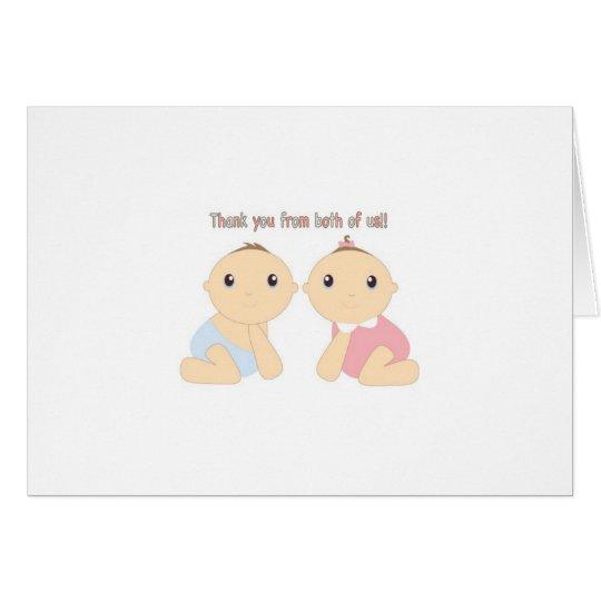 Doppeljunge/Mädchen danken Ihnen Anmerkungs-Karte Mitteilungskarte