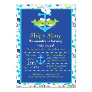 Doppeljungen-Anker-Wal-Babyparty-Einladung Karte