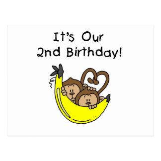 Doppeljungen-Bananen-Affe-2. Geburtstag Postkarte