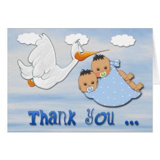 Doppeljungen - Storch-Babyparty danken Ihnen zu Karte