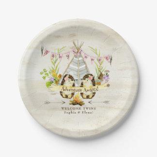 Doppelmädchen-Baby-Duschen-Igels-Birken-Barke BOHO Pappteller