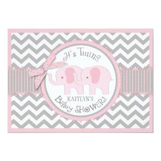 Doppelmädchen-Elefant-Zickzack Druck-Baby-Dusche Karte