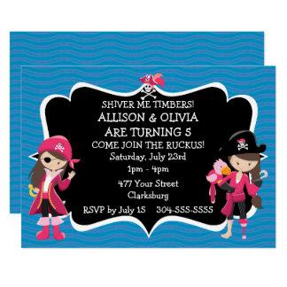Doppelmädchen-Piraten-Geburtstags-Party Karte