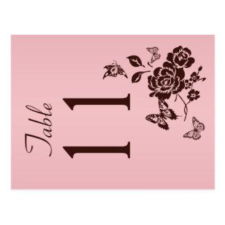 Doppelseitig erröten Rosa und Brown-Tischnummer Postkarten