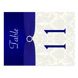 Doppelseitige Blaue und Elfenbein-Damast-Tischnumm Postkarten