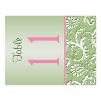 Doppelseitige grüne und rosa Damast-Tischnummer Postkarte