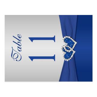Doppelseitige königliches Blau-und Silber-Tischnum Postkarte