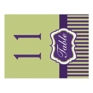Doppelseitige lila und grüne Damast-Tischnummer Postkarten
