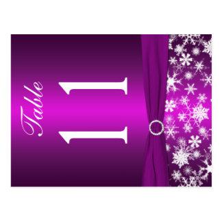 Doppelseitige lila weiße Schneeflocke-Tischnummer Postkarten