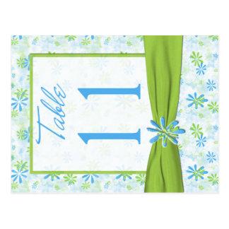 Doppelseitige Limone, blaue, weiße Tischnummer Postkarte