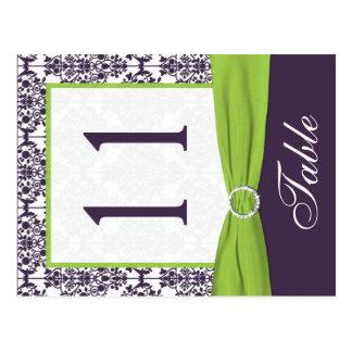 Doppelseitige Limone und lila Damast-Tischnummer Postkarten