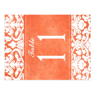 Doppelseitige orange und weiße Damast-Tischnummer Postkarte