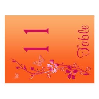 Doppelseitige rosa und orange BlumenTischnummer Postkarte