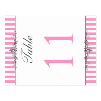 Doppelseitige rosa und weiße gestreifte postkarten