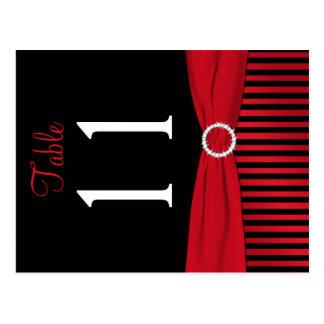 Doppelseitige rote und schwarze gestreifte postkarte