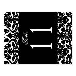 Doppelseitige Schwarzweiss-Damast-Tischnummer Postkarte
