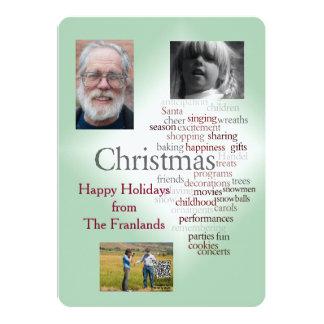 Doppelseitiger Feiertags-Foto-Schablonen-Gruß 12,7 X 17,8 Cm Einladungskarte