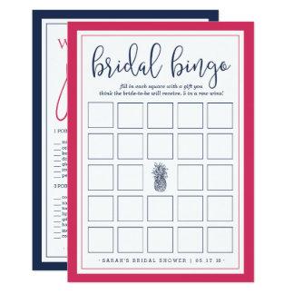 Doppelseitiges Brautparty-Bingo-und Karte