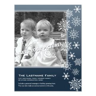 Doppelseitiges Feiertags-Foto kardiert blaue 10,8 X 14 Cm Einladungskarte